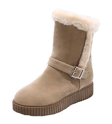 EuX94 Mini AgeeMi Boots Shoes Tacón Puntera Mujer Albaricoque Grueso Tacón Hebilla Redonda UXvCqXw
