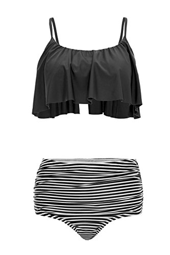 beautyin Womens Falbala Two Piece Bikini Swimsuit High Waisted Bathing Suits,Black,(US 12-14) / Label 2XL