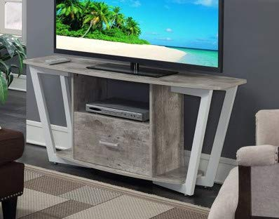Amazon Com Tv Stand For 65 Inch Tv Faux Birch Wood White Slate