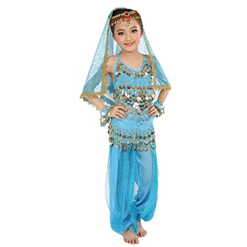 [Voberry® Kids Belly Dance Costumes Dangling Gold Coins Hip Scarf Indian Dancing Performance Suit (M, Sky] (Belly Dance Costumes Bra)