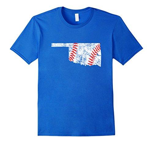 Men's Oklahoma Baseball State Map Tulsa T Shirt Large Royal