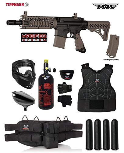 Tippmann TMC MAGFED Starter Protective HPA Paintball Gun Package - Black/Tan