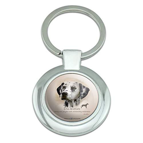 (Dalmatian Dog Breed Classy Round Chrome Plated Metal Keychain)