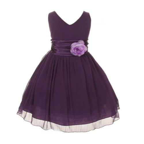 Chiffon Double V Neck Wedding Flower Girl Dress, Made in USA (14, purple)