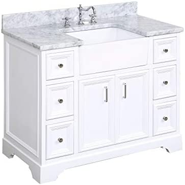 Zelda 42-inch Bathroom Vanity Carrara/White : Includes White Cabinet