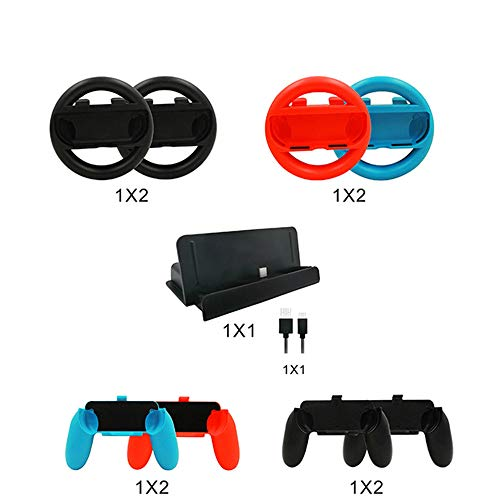 Insaneness for Nintendo Switch Accessory Kits Sets 10 in 1 Joy Con Grips Handle Controller (Multicolor) ()