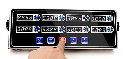 Commercial Kitchen Fryer Timer - Stainless Steel - Programmable LED 8-Channel Display - Single Function - Easy To Program