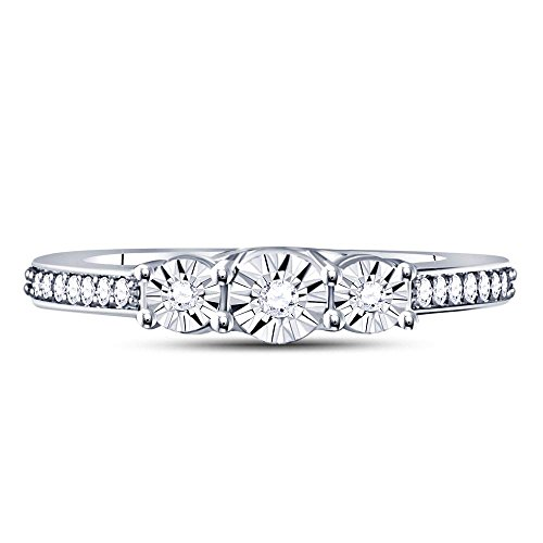 Sterling Silver Womens Round Diamond 3-stone Bridal Wedding Engagement Ring 1/6 Cttw