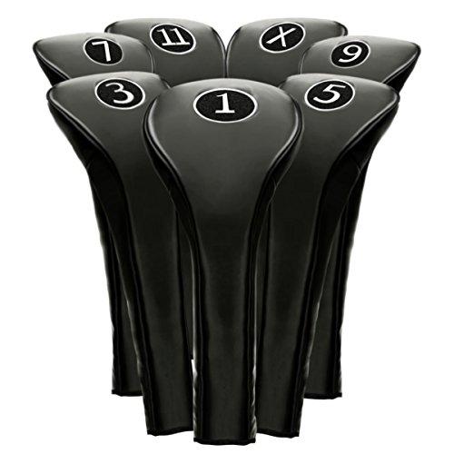 new-black-zipper-driver-1-3-5-7-9-11-x-leatherette-fairway-golf-club-covers-wood-headcovers-head-cov