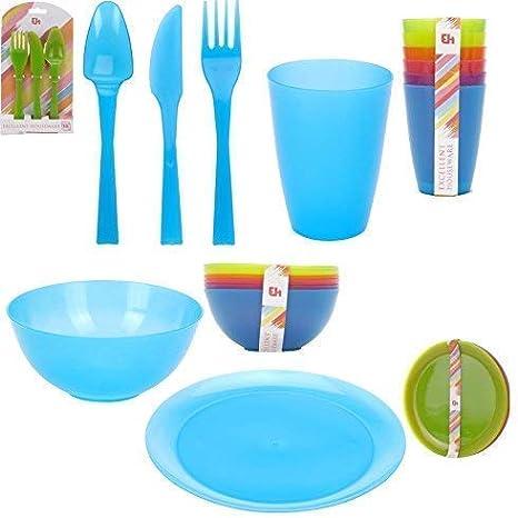 Excellent Housewares Conjunto de 36 Camping Picnic Tazones de Plástico Platos Vasos & Cubiertos Colores Brillantes