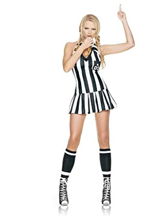 Leg Avenue Women's 3 Piece Referee Costume Includes Whistle And Halter Dress, Black/White, Small/Medium