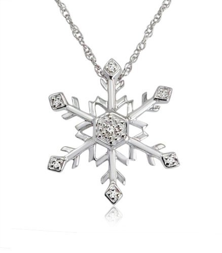 Amazon #LightningDeal 85% claimed: Diamond Snowflake Pendant-Necklace in Sterling Silver (18 inch Chain)