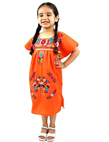 Leos Mexican Imports Girls Mexican Puebla Dress (Girls 6, Orange)