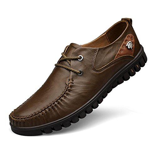 Zapatos Suave M Zapatos de conducción Brown Zapatos Negocios de Hombre de Tejido Grandes Trabajo Zapatos de Zapatos amp;M 6F6w0qrf