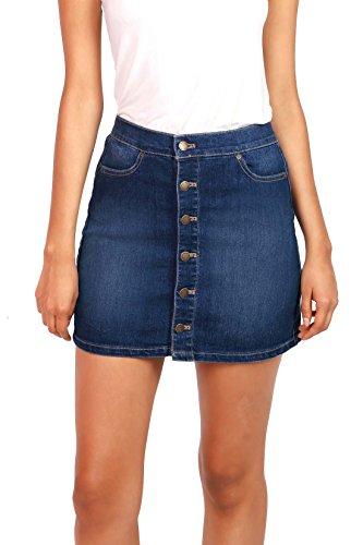 Wax Women's Juniors Cute Button Down Denim Mini Skirt (S, Dark Denim)