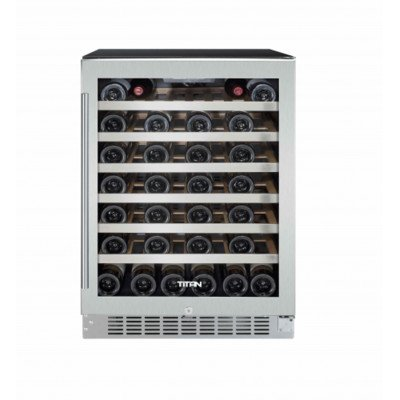 50 Bottle Single Zone Built-In Wine Refrigerator - Auto Defrost Left Hinge