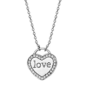 NEOGLORY 925 Sterling Letter Love Zircon Platinum Plated Chain Necklace Wommen Jewelry Women Gift