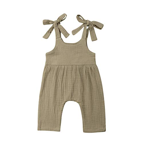 - Newborn Baby Boy Girl Toddler Cotton Linen Romper Solid Color Jumpsuit with Self Tie Straps Outfit Clothes (9-18 Months, Khaki)