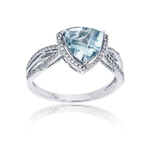 (14K White Gold 0.20 CTTW Round Diamond & 8mm Trillion Aquamarine Split Shank Ring )