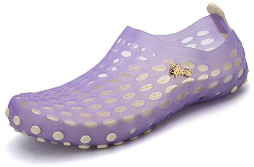 katliu Mens Womens Beach Water Shoes Slip on Breathable Aqua Quick Drying Shoes Summer Beach Sandals Purple wxaQl0njP
