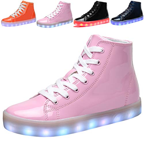 Voovix Kids LED Light up Shoes USB Charging Flashing High-top Sneakers for Boys Girls Child Unisex(Pink,34) -