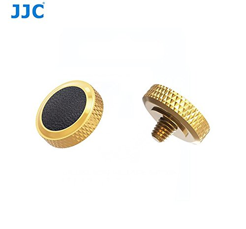 JJC new desgin Gold Black deluxe Camera Soft Release Button with microfiber leather on surface for Fuji Fujifilm X-T20 X-T10 X-T2 X-PRO1 X100 X100S X100T X30 X20 Sony RX1R RX10 II IV Leica M10 etc -  JJC_SRB-DGD-Black