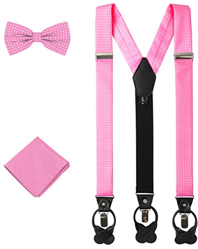 Jacob Alexander Matching Polka Dot Suspenders Handkerchief and Bow Tie - Pink
