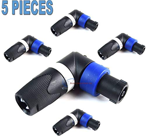 - 5 Pack Pro Audio Right Angle L 4 Pin Male Speakon Plug Adapter Connector Coupler