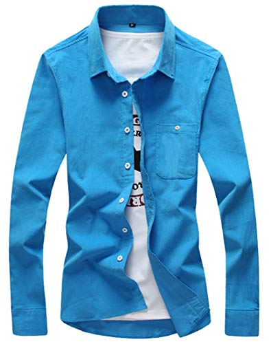 ouxiuli Men's Casual Long Sleeve Jacket Cord Corduroy Button Down Dress Shirt Sky Blue ()