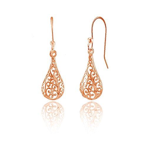 erling Silver Teardrop Filigree Polished Dangle Earrings ()