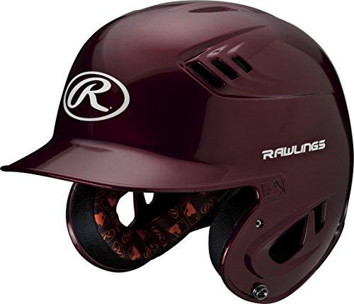 Maroon Baseball Batting Helmet (Rawlings R16 Series Metallic Batting Helmet, Maroon, Junior)