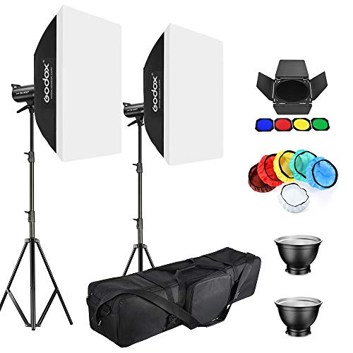Godox 2 Pack SK400II 400Ws Studio Strobe Flash Monolight Light Bowens Mount Kit for Studio Shooting,Video Location and Portrait Photography with Barn Door kit,Softbox,Light Stand,Soft Cloth,Bag,Filter