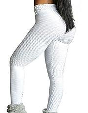 Kvinnors hög midja yogabyxor rynkade rumplyftande jacquardleggings vit svart lila spandex gym träning löpning fitness sport aktivitetskläder hög elasticitet smal