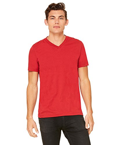 Bella+Canvas Comfortable V-Neck Fitted Jersey T-Shirt, Canvas Red, Small