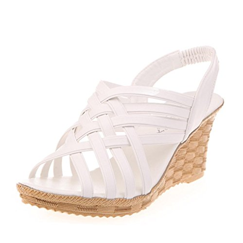 Ouneed ® Moda mujer altas plataformas patrón correa Gladiator sandalias Blanco