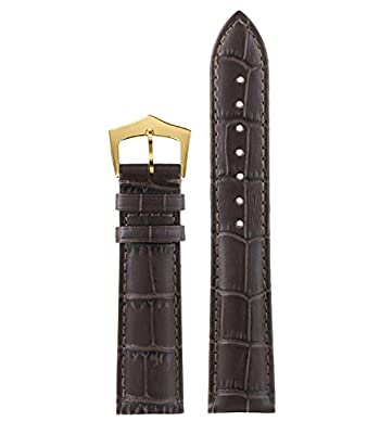 High-grade Wrist Watches Straps in Leather Genuine Italian Leather in Dark Brown Tone-on-tone Stitch with Gold Pin Buckle
