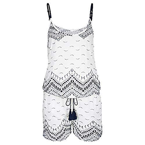 Jianekolaa Womens Spaghetti Strap Short Jumpsuit,Women Loose Sleeveless Jumpsuit,Selt Tie Waist Jumpsuit White