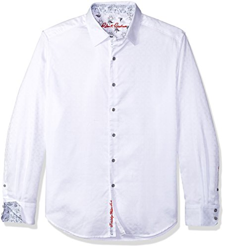 (Robert Graham Men's Diamante Long Sleeve Shirt, White, XLarge)