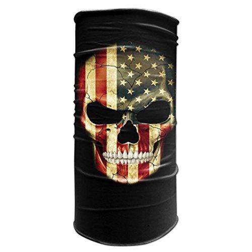 Neck Warmer Sports Bandana American Flag Skull Biker Balaclava Head Wrap (Morf Suit)