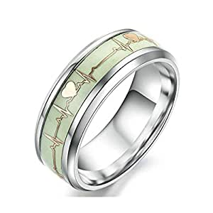 Stainless Steel 8MM Silver/Gold Luminous Heartbeat Ring EKG Carbon Fiber Wedding Band Glow in The Dark