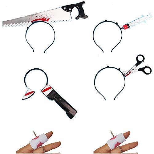 Halloween Knife Headband Accessory Bloody Cleaver through the head Headwear Zombie Costume Party Set Free Size 6pcs Set 1