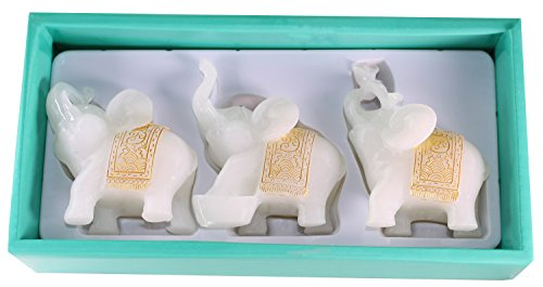 Feng Shui Set of 3 White Jade Elephant Statues Wealth Lucky Figurines Home Decor Housewarming Congratulatory Gift US Seller