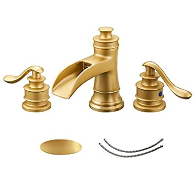 BWE Waterfall 8-16 Inch 3 Holes Two Handle Oil Rubbed Bronze Commercial Bathroom Sink Faucet Lavatory Widespread