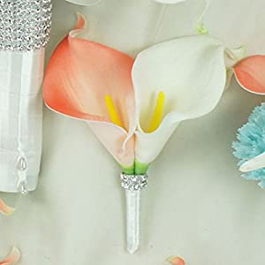 Lily Garden Real Touch Calla Lily Coral and White and Carnation Turquoise Flowers Wedding Bouquet 36