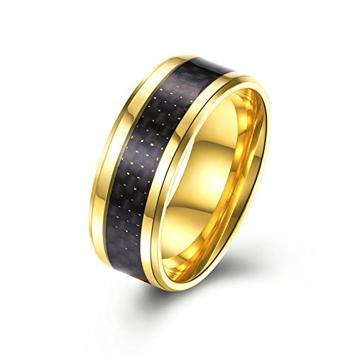 LuckyWeng Mens New Exquisite Fashion Jewelry Stainless Steel Gold Round Black Weave ()