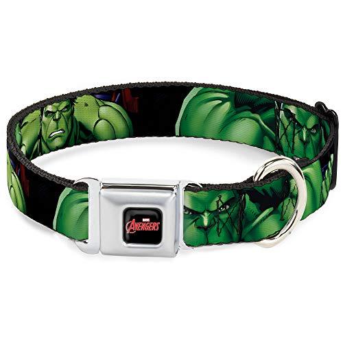 Buckle-Down Seatbelt Buckle Dog Collar - Marvel Hulk CLOSE-UP Poses - 1.5' Wide - Fits 18-32' Neck - Large