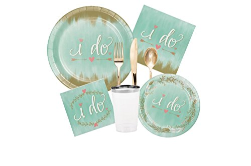 Bridal Shower/Wedding Mint To Be Party Tableware Bundle: Includes Plates, Napkins, Cups, and Cutlery for 8 Guests