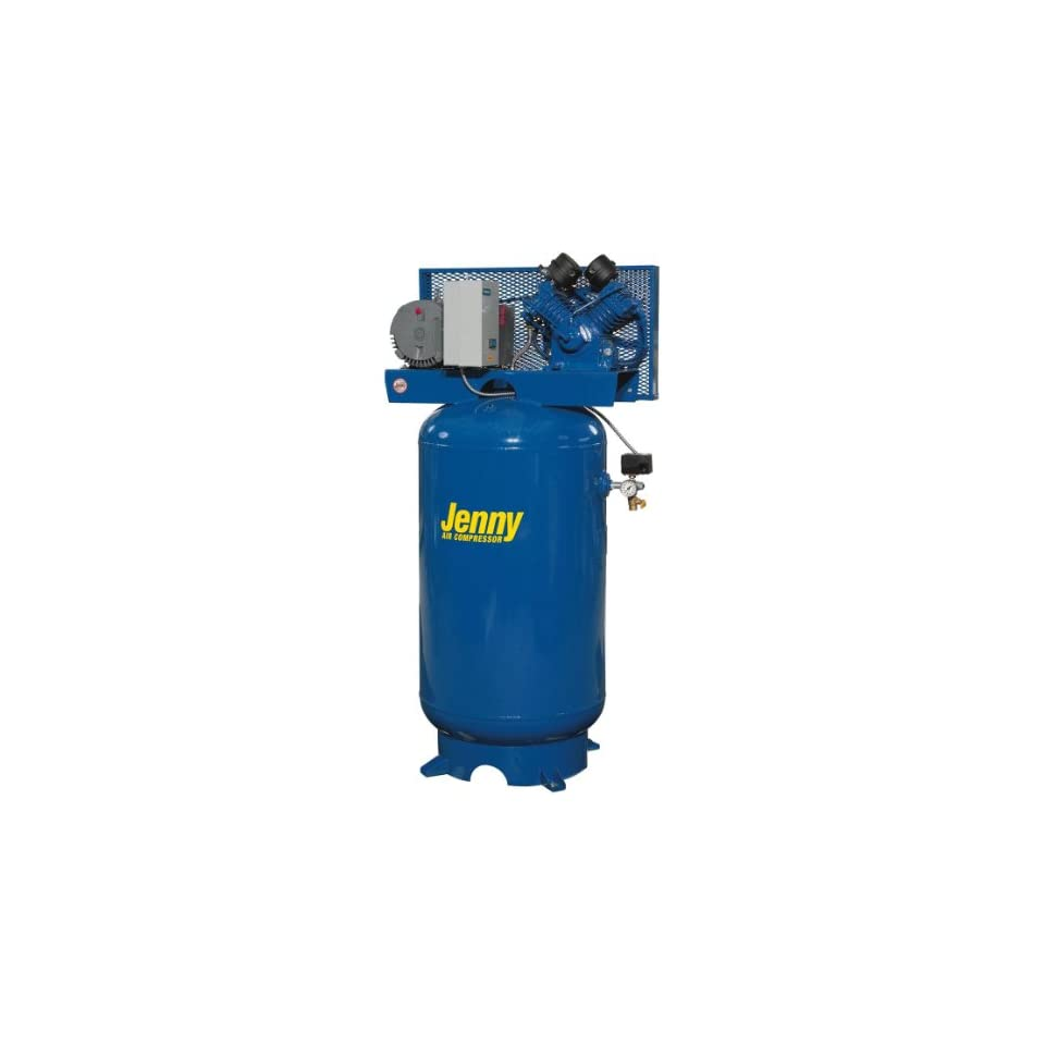 Jenny Compressors W3B 80V 208/3 3 HP 80 Gallon Tank 440 Pump RPM 3 Phase 208 Volt, Vertical Electric Two Stage Stationary Compressor