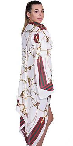 100% Silk Scarf for Women Ladies Printed Shawl Wrap Headscarf Long Large Lightweight Satin Ivory Scarves