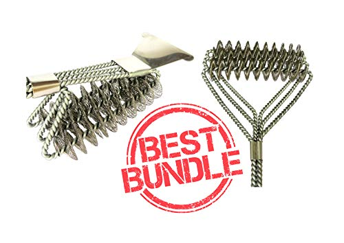BBQ Grill bristles, scraper, weber brush cleaner bundle. Long, safe stainless steel barbecue grate cleaning tools best for charcoal/gas grill. Best gift set for the outdoor garden bbq family man. by COL's
